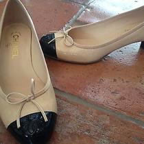 Authentic Coco Chanel Women's Beige & Black Two Tone Bow Cap Toe Low Heels 39 Photo