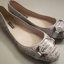 Authentic Cream & Gray Snake Look W/ Clear Plate & Gold Trim Armani Flats Sz 40 Photo