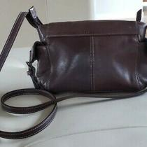 Authentic Dark Brown Vintage Fossil Leather Mini Bag Zipper Closure Pockets Photo