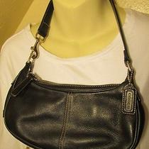 Authentic Designer Coach Handbag Purse Small Adorable Bag Black Leather  Photo