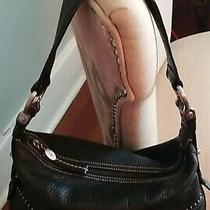 Authentic Donald J. Pliner Leather Hobo Handbag Black Photo