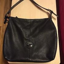 Authentic Dooney and Bourke All Weather Leather Black Gold Charm Hobo Bag Photo