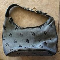 Authentic Dooney and Bourke Black Canvas Leather Small Hobo Handbag  Photo