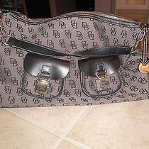 Authentic Dooney and Bourke Purse- Grey Logo and Black Leather Trim Photo