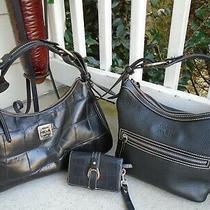 Authentic Dooney & Bourke Black Leather Embossed Lot 2 Hobo Bag & Wallet Photo