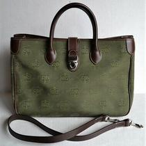 Authentic Dooney & Bourke Green Signature Db Canvas Tote Purse Shoulder Bag Photo