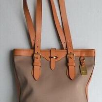 Authentic Dooney & Bourke Tote Bag Taupe Canvas & Tan Leather Handbag Purse Photo