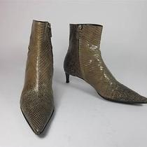 Authentic - Escada Beige Snakeskin Leather Designer Ankle Boots Sz 6.5m 895 Photo