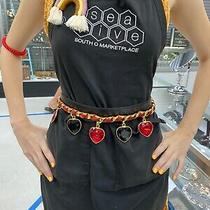 Authentic Escada Belt Vintage Black Leather Heart Charms Belt Beautiful Photo