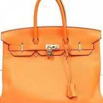Authentic Excellent Condition Hermes 35cm Clemence Hermes Orange Handbag 2008  Photo