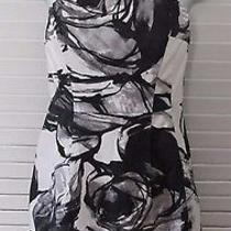 Authentic Express Strapless Black & White Graphic Dress W/ Scarf  Sz 2 Photo