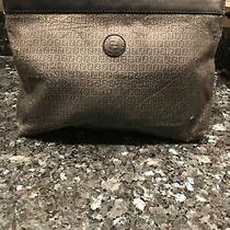 Authentic Fendi Ff Black Gray Canvas Clutch Bag Photo