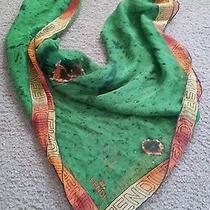 Authentic Fendi Logo Scarf 100% Silk Designer Green Ff Rare Design Print Orange  Photo
