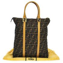 Authentic Fendi Logos Hand Tote Bag Brown Beige Canvas Italy Vintage Lp12320 Photo