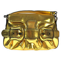 Authentic Fendi Logos With Belt Leather Gold Hand Bag Italy Vintage Good Bt00100 Photo