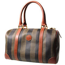 Authentic Fendi Pequin Striped Travel Hand Bag Brown Black Pvc Leather Junk 749 Photo