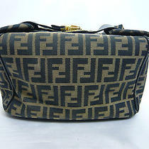 Authentic Fendi Popular Zucca Brown Canvas Cosmetic Bag Vanity Bag Purse 1289 Photo