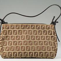 Authentic Fendi Pouch Handbag Vanity Bag Zucca Mint 598k34 Photo