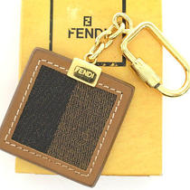 Authentic Fendi Screw Lock Square Brown Stripe Canvas Leather Charm Key Ring Box Photo