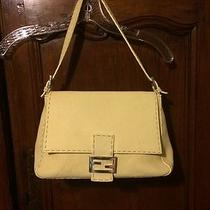 Authentic Fendi Selleria Shoulder Leather Handbag Butter Cream Sterling Silver Photo