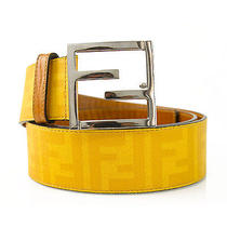 Authentic Fendi Yellow Leather Zucca Print Belt  Sz100/40 Photo