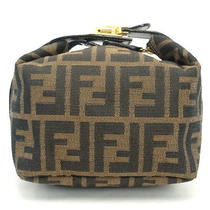 Authentic Fendi Zucca Brown Canvas Cosmetic Pouch Vanity Hand Bag Purse Italy Photo