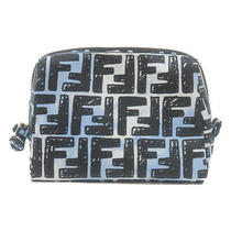 Authentic Fendi Zucca Nylon Beauty Pouch Small Case Blue Black 8n0172 Used F/s Photo