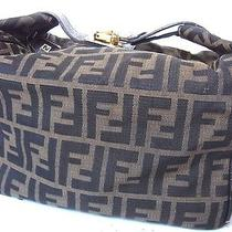 Authentic Fendi Zucca Pvc Leather Cosmetic Pouch Vanity Handbag Purse Brown Photo