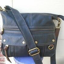 Authentic Fossil Black Pebble Leather Large Crossbody Shoulder Bag Photo