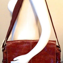 Authentic Fossil Book Bag / Briefcase - Beautiful Cognac Color Vintage Leather Photo