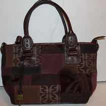 Authentic Fossil Brown Leather Canvas Patch Hand Bag Purse Pocket Book Photo