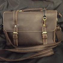 Authentic Fossil Brown Leather Portfolio Laptop Crossbody Messenger Shoulder Bag Photo
