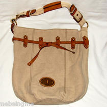 Authentic Fossil Bucket Leather & Canvas Tote Purse Shoulder Bag Handbag Maddox Photo