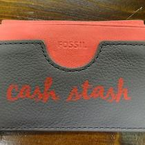 Authentic Fossil Cash Stash Card Holder Wallet Insert Grey & Pink Rare Photo