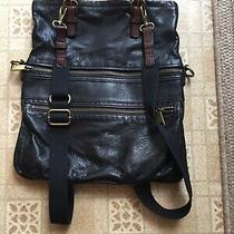 Authentic Fossil Cowhide Black Leather Backpack Women's 15