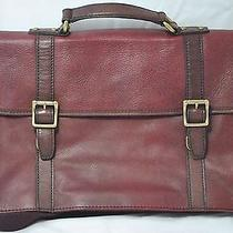 Authentic Fossil Leather Briefcase Messenger Bag Beautiful Burgundy/wine Color Photo