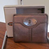 Authentic Fossil Marlow Bifold Wallet Small Pewter Leather New in Box Photo