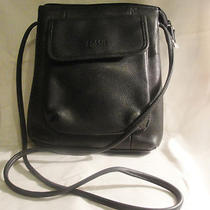 Authentic Fossil Messenger Crossbody Bag Black Leather Photo