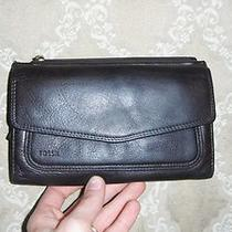Authentic Fossil Wallet Carry-All Unique Find Dark Brown Leather See Photos Photo