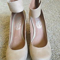 Authentic Gently Worn Jeffrey Campbell 'Aurora' Heel / Beigenubuk Suede / Size 7 Photo