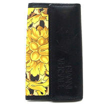 Authentic Gianni Versace Flower Print Pvc & Black Leather Key Case 5 Hooks  Photo