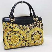 Authentic Gianni Versace Leopard Hand Bag Yellow & Black Leather 10406a Photo