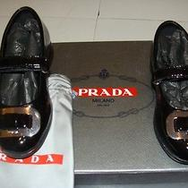 Authentic  Girls Black Patent Prada Shoes Size 23 Photo