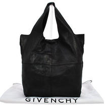 Authentic Givenchy Logos Hand Tote Bag Black Leather Vintage Hungary Lp12319 Photo