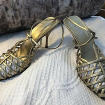 Authentic Gold  Prada Womens Leather Ankle Strap Kitten Heel Sandals Size 10 Photo