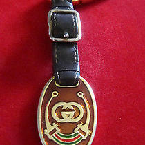 Authentic Gold Tone Gg Logo Equestrian Enamel Key Ring With Leather Part. Photo