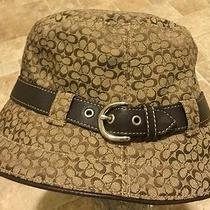 Authentic Gorgeous Coach Logo Monogram Signature Designer Womens Beige Brown Hat Photo