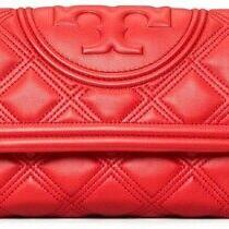 Authentic Guarenteed Nwt Tory Burch Fleming Soft Clutch Lambskin Brilliant Red Photo