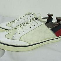 Authentic Gucci 11.5 G With White Gucci. Logo Laces Sneakers Casual 170569 Photo