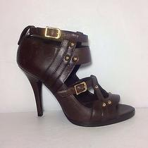 Authentic Gucci 6.5 M Brown Leather Studded Caged Peep-Toe Bootie Pumps Heels Photo